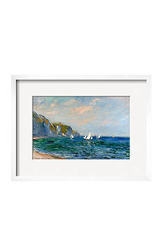 Art.com Cliffs and Sailboats at Pourville by Claude Monet, Framed Art Print