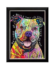 Art.com Beware of Pit Bulls by Dean Russo, Framed Art Print