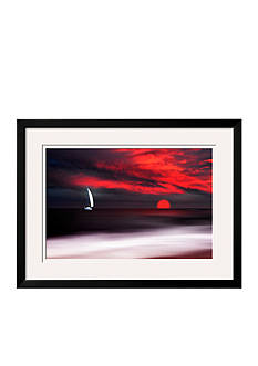 Art.com White Sailboat and Red Sunset by Philippe Sainte-Laudy, Framed Photographic Print