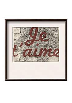 Art.com Je Taime - Paris, France, Vintage Map, Framed Giclee Print