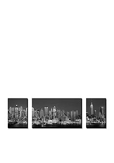 Art.com West Side Skyline at Night in Black and White, New York, USA, Canvas Art Set,-Online Only
