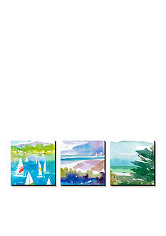 Art.com Sailboats and Lake I Triptych, Canvas Art Set - Online Only