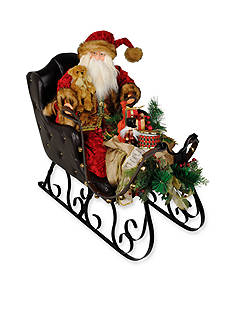 Santa's Workshop 30-in. Crushed Velvet Santa Sleigh