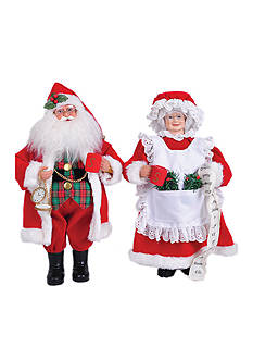 Santa's Workshop 15-in.L MR. and Mrs. Claus ,Set Of 2