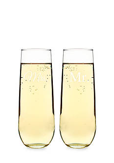 Cathy's Concepts Mr. & Mrs. Stemless Champagne Toasting Flutes