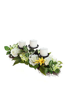 Home Accents White Rose Three Candle Holder