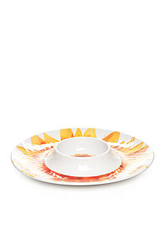 Home Accents Yellow Gingham & Sunflower Chip & Dip