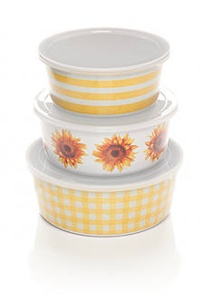 Home Accents Yellow Gingham Set of 3 Dips Bowls