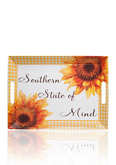 Home Accents Yellow Gingham & Sunflower Serving Tray