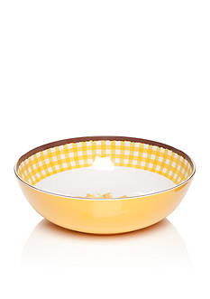 Home Accents Yellow Gingham Serving Bowl