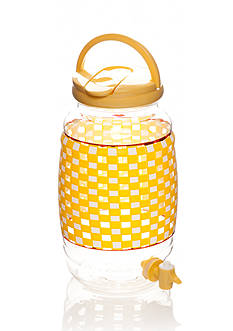Home Accents Yellow Gingham Beverage Dispenser