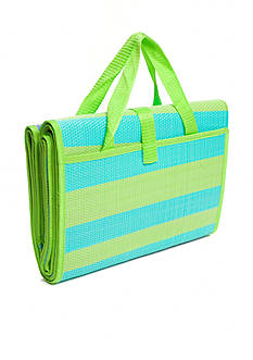 Home Accents Woven Beach Mat - Navy, Turquoise & Lime