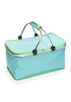 Home Accents Turquoise & Lime Insulated Picnic Tote