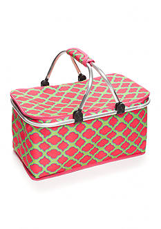 Home Accents Pink & Lime Trellis Insulated Picnic Tote
