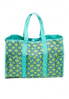 Home Accents Multi-Pocket Rectangle Aqua Trellis Beach Tote