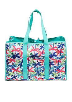 Home Accents Multi-Pocket Rectangle Palm Tree Beach Tote