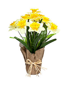 Home Accents Daffodil Floral Burlap Pot