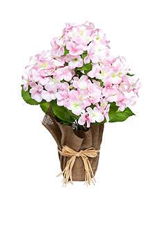 Home Accents Pink Hydrangea Floral Burlap Pot