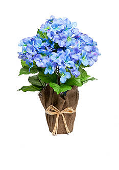 Home Accents Blue Hydrangea Floral Burlap Pot