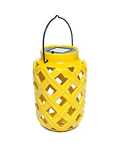 Home Accents Yellow Ceramic Solar Lantern