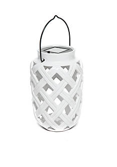 Home Accents White Ceramic Solar Lantern