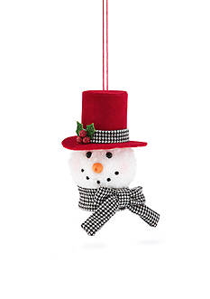 Home Accents Holly Jolly Christmas Plush Snowman Head with Hat Ornament