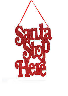 Home Accents Jingle All the Way Santa Stop Here Sign Ornament