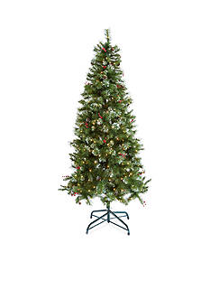 Home Accents 7.5-ft. Pre-Lit Decorated White Frosted Tree