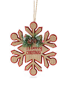 Home Accents Woodland Wonder 8-in. Wodden Snowflake with String Ornament