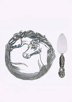 Arthur Court Horse Plate with Cheese Server - Online Only