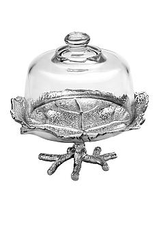 Arthur Court Grape Leaf Footed Plate With Glass Dome