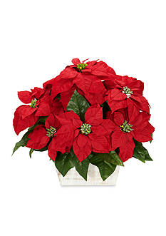 Nearly Natural Poinsettia With White Wash Planter Silk Arrangement