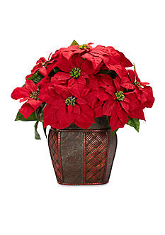 Nearly Natural Poinsettia With Decorative Vase Silk Arrangement