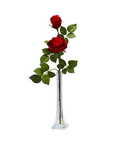 Nearly Natural Roses With Tall Bud Vase Silk Flower Arrangement