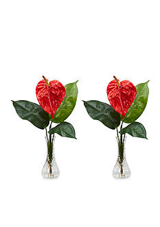 Nearly Natural Anthurium With Bud Vase Silk Flower Arrangement