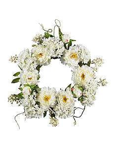 Nearly Natural 20-in. Peony Hydrangea Wreath