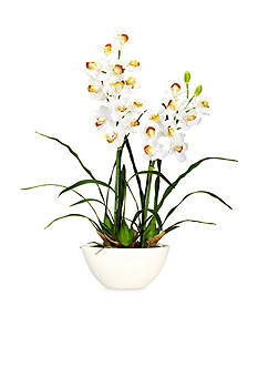 Nearly Natural Cymbidium Silk Flower Arrangement with White Vase