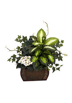 Nearly Natural African Violet, Dieffenbachia, and Ivy Silk Plant with Chest