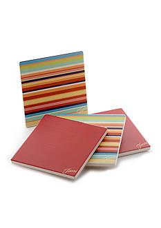 Fiesta Multi Stripe/Scarlet Coasters Set of 4