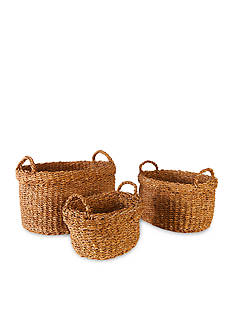 Napa Home & Garden™ Seagrass Set of 3 Oval Baskets w/Handles & Cuffs