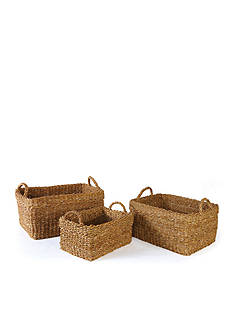 Napa Home & Garden™ Seagrass Set of 3 Rectangular Baskets with Cuffs