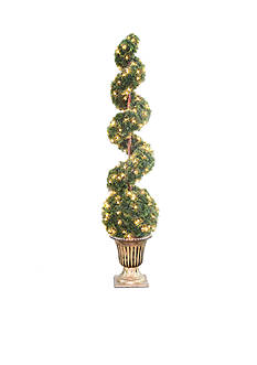 National Tree Company Clear Spiral Tree With Ball In A Black & Gold Urn With 200 Clear Lights