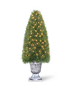 National Tree Company Upright Juniper Spiral Tree In Decorative Urn With 100 Clear Lights