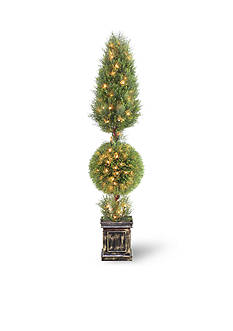 National Tree Company Juniper Cone and Ball Topiary Tree with Black Square Pot and 150 Clear Lights