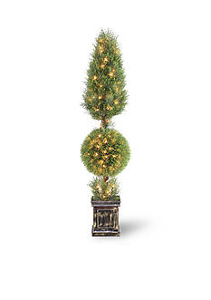 National Tree Company Juniper Cone And Ball Topiary Tree With Black Square Pot & 200 Clear Lights