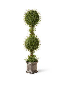 National Tree Company Mini Tea Leaf Two Ball Topiary In Silver Square Pot
