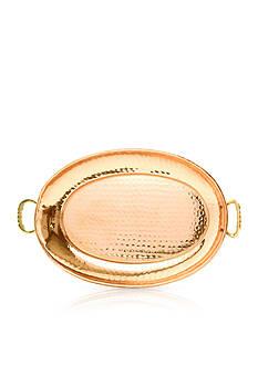 Old Dutch International, Ltd. Hammered Decor Copper Oval Tray W/ Cast Brass Handles