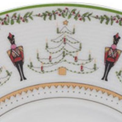 Christmas Table Decorations: Green/Multi. Bernardaud 10-in. Salad Bowl