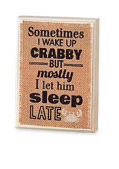 Mud Pie Sea Wood Plaque: Wake Up Crabby