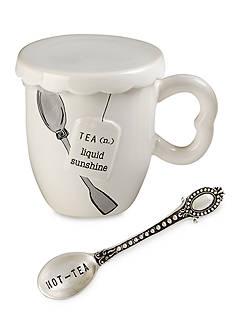 Mud Pie Circa 3-Piece 'Liquid Sunshine' Tea Cup, Spoon, and Cover Set